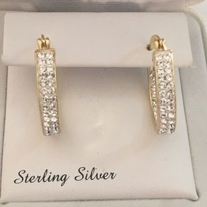 14K Gold Over Sterling Silver CZ Hoop Earrings